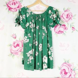 F&F Green Floral Tie Puff Sleeve Blouse 12
